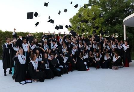 Alumnos de Caxton College en la graduación del curso 2018-2019 tirando sus birretes al aire